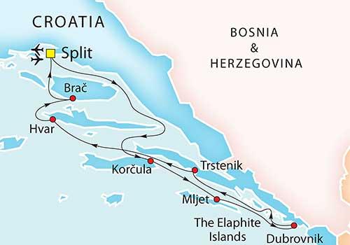 cruise the Adriatic Coast - Croatia Map