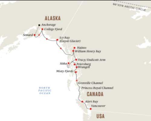 Free Flights - Hurtigruten Map Alaska